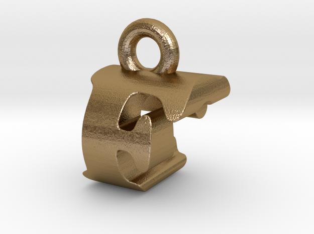 3D Monogram Pendant - FCF1 in Polished Gold Steel