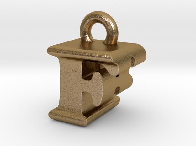 3D Monogram Pendant - FBF1 in Polished Gold Steel