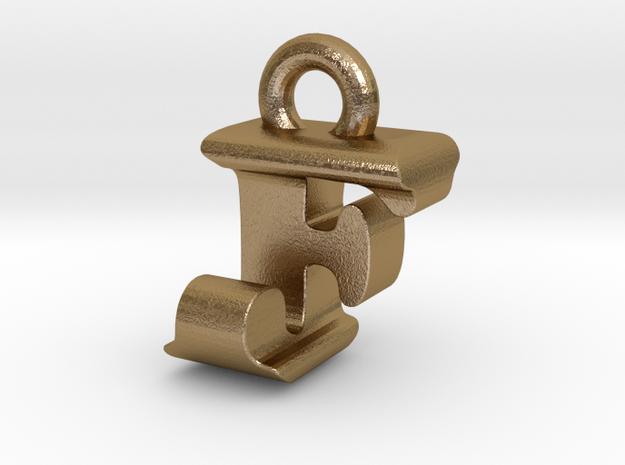 3D Monogram Pendant - FJF1 in Polished Gold Steel