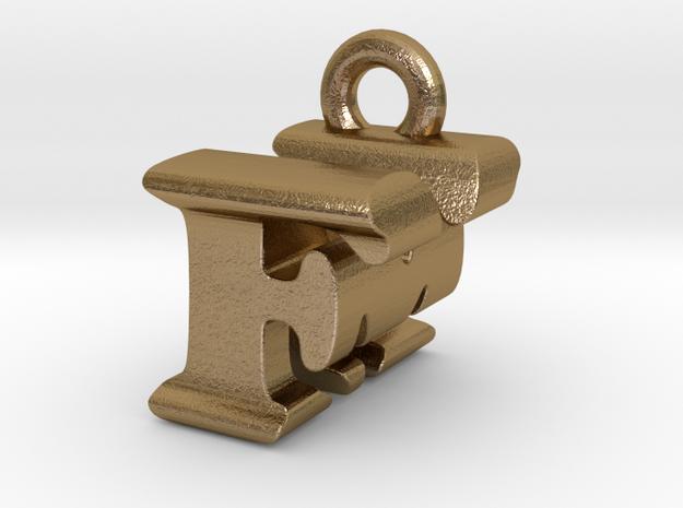 3D Monogram Pendant - FMF1 in Polished Gold Steel