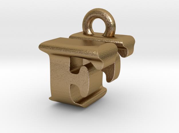 3D Monogram Pendant - FUF1 in Polished Gold Steel