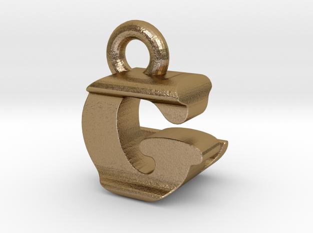 3D Monogram Pendant - GLF1 in Polished Gold Steel