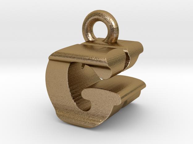 3D Monogram Pendant - GKF1 in Polished Gold Steel