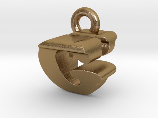 3D Monogram Pendant - GVF1 in Polished Gold Steel