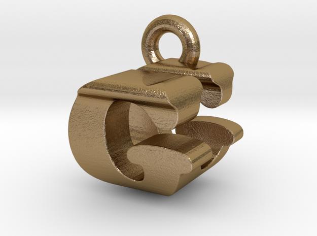 3D Monogram Pendant - GUF1 in Polished Gold Steel