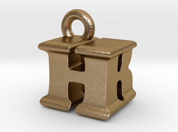 3D Monogram Pendant - HBF1 in Polished Gold Steel