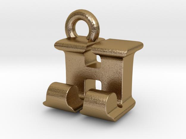 3D Monogram Pendant - HJF1 in Polished Gold Steel
