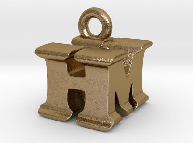 3D Monogram Pendant - HMF1 in Polished Gold Steel