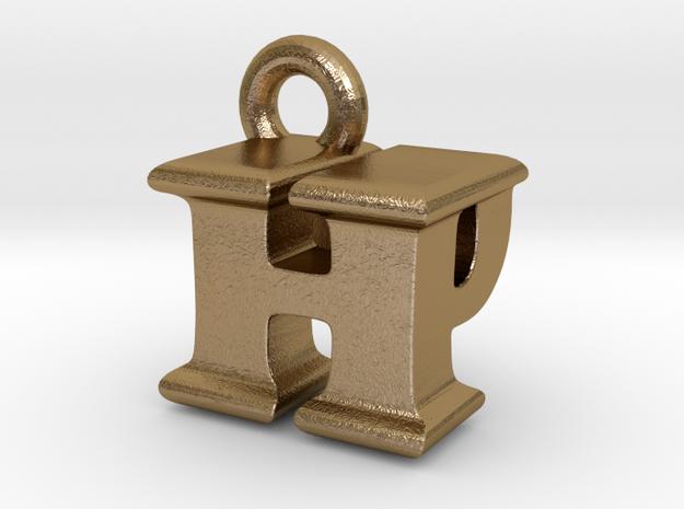 3D Monogram Pendant - HPF1 in Polished Gold Steel
