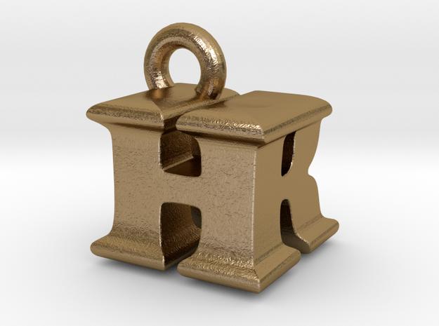 3D Monogram Pendant - HRF1 in Polished Gold Steel