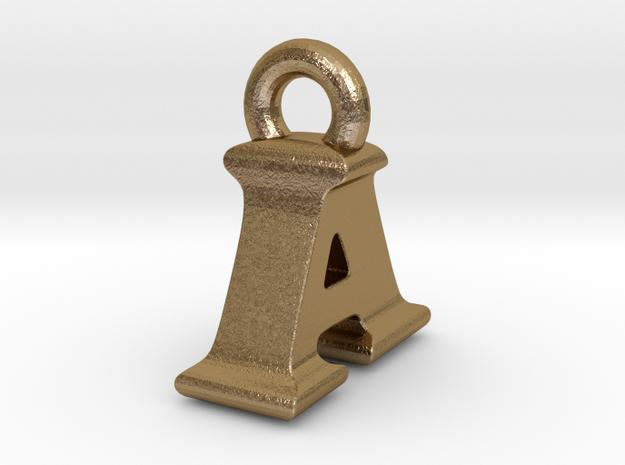 3D Monogram Pendant - IAF1 in Polished Gold Steel
