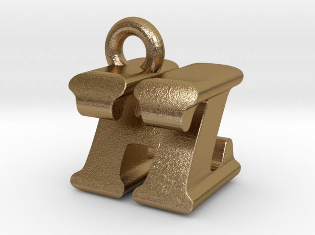 3D Monogram Pendant - HZF1 in Polished Gold Steel