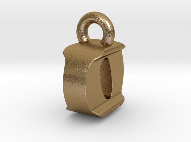 3D Monogram Pendant - IOF1 in Polished Gold Steel