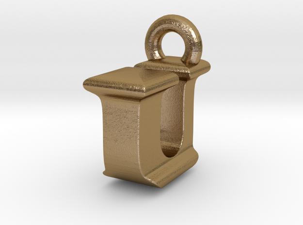 3D Monogram Pendant - IUF1 in Polished Gold Steel