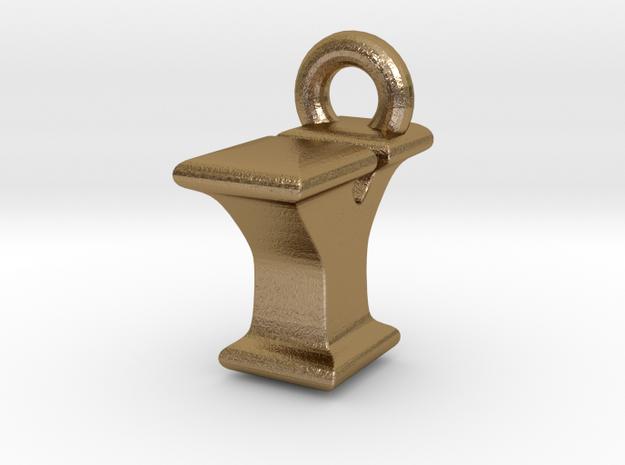 3D Monogram Pendant - IYF1 in Polished Gold Steel