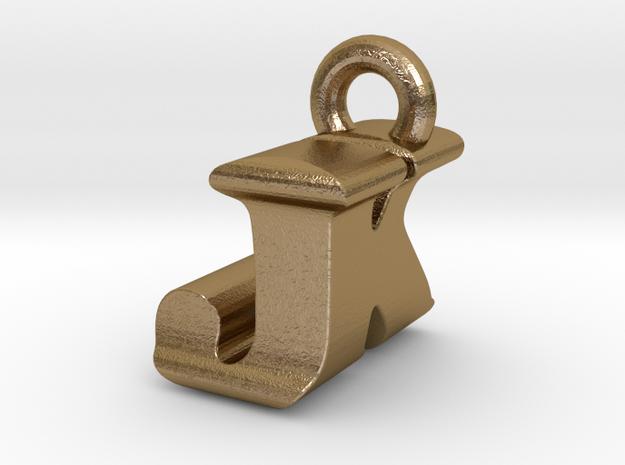 3D Monogram Pendant - JKF1 in Polished Gold Steel