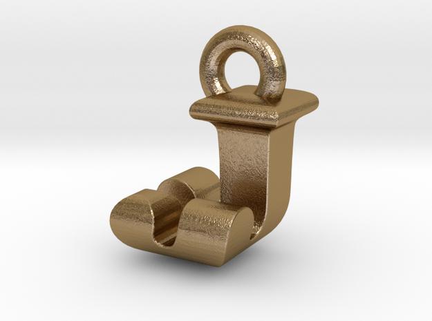 3D Monogram Pendant - JJF1 in Polished Gold Steel