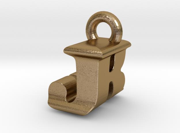3D Monogram Pendant - JRF1 in Polished Gold Steel