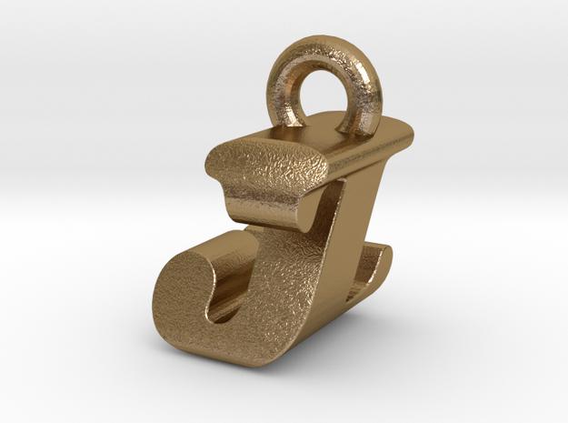 3D Monogram Pendant - JZF1 in Polished Gold Steel