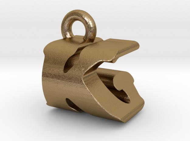 3D Monogram Pendant - KGF1 in Polished Gold Steel
