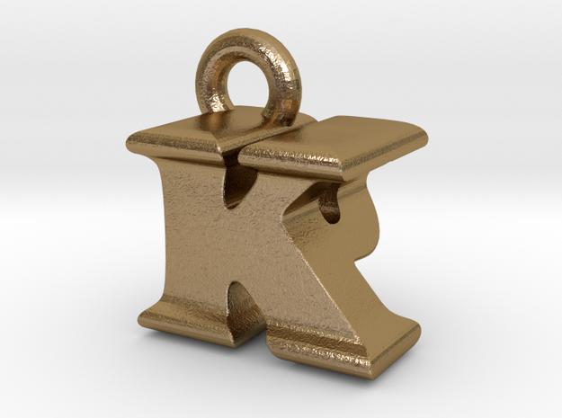3D Monogram Pendant - KPF1 in Polished Gold Steel