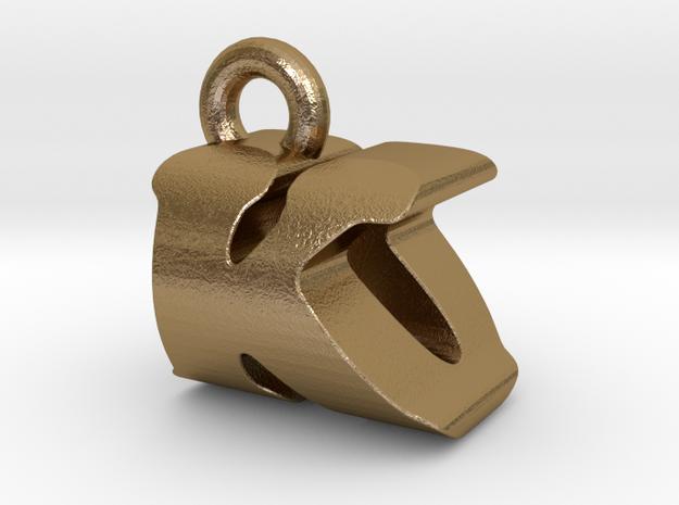 3D Monogram Pendant - KOF1 in Polished Gold Steel