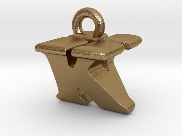 3D Monogram Pendant - KVF1 in Polished Gold Steel