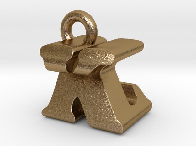 3D Monogram Pendant - KZF1 in Polished Gold Steel