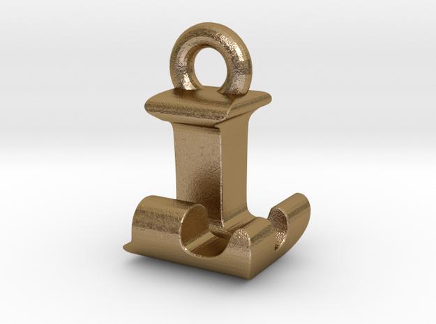 3D Monogram Pendant - LJF1 in Polished Gold Steel