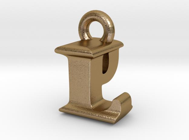 3D Monogram Pendant - LPF1 in Polished Gold Steel