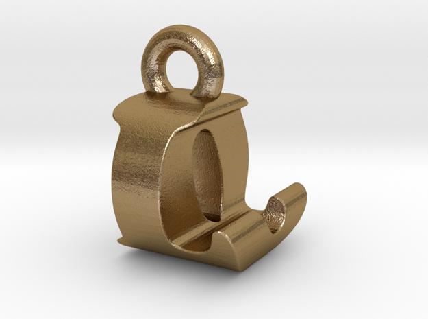 3D Monogram Pendant - LOF1 in Polished Gold Steel