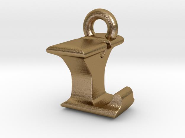 3D Monogram Pendant - LYF1 in Polished Gold Steel