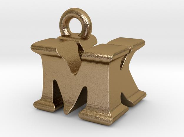 3D Monogram Pendant - MKF1 in Polished Gold Steel