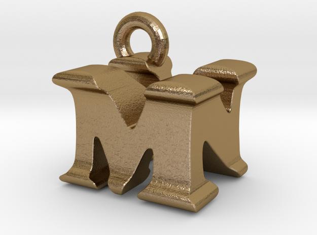 3D Monogram Pendant - MNF1 in Polished Gold Steel