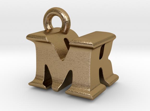 3D Monogram Pendant - MRF1 in Polished Gold Steel