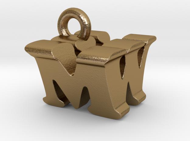 3D Monogram Pendant - MWF1 in Polished Gold Steel
