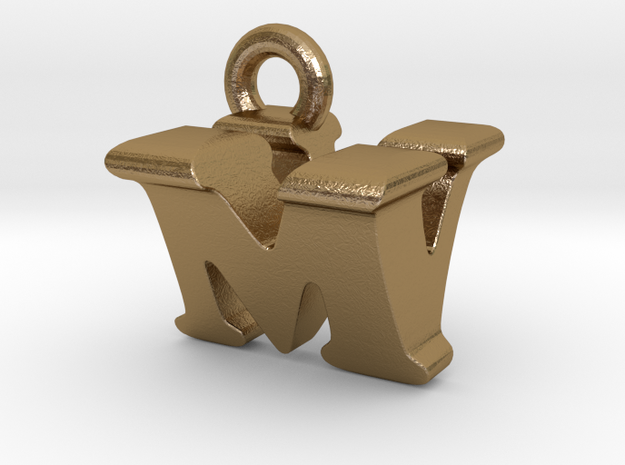 3D Monogram Pendant - MVF1 in Polished Gold Steel