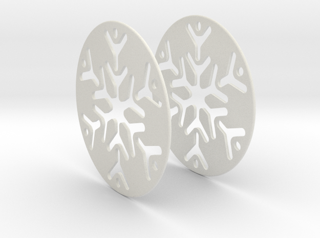 Snowflake 3 Hoop Earrings 50mm in White Natural Versatile Plastic
