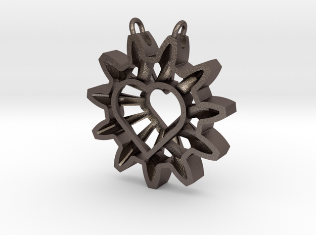 Expand your Reach Pendant in Polished Bronzed Silver Steel