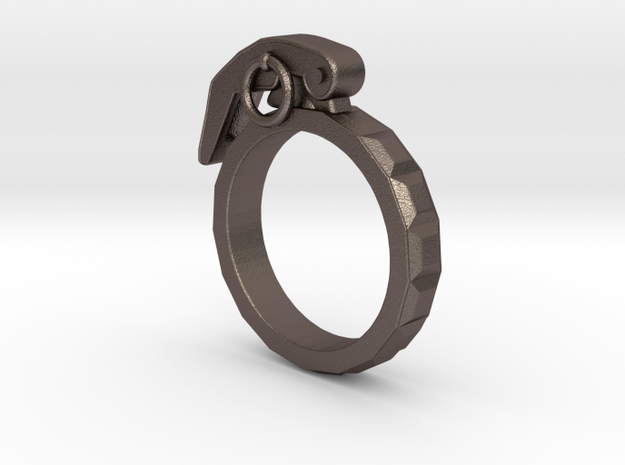 The Gringade - Grenade Ring (Size 10) in Polished Bronzed Silver Steel