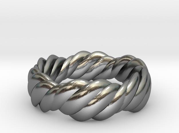 Twist Ring Wide  in Polished Silver