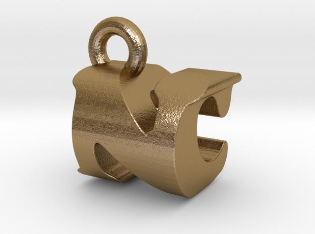 3D Monogram Pendant - NCF1 in Polished Gold Steel