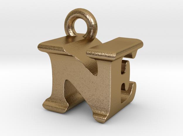 3D Monogram Pendant - NEF1 in Polished Gold Steel