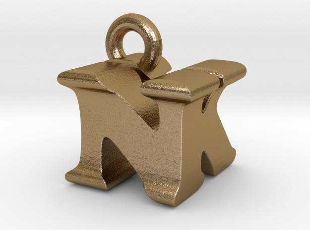 3D Monogram Pendant - NKF1 in Polished Gold Steel