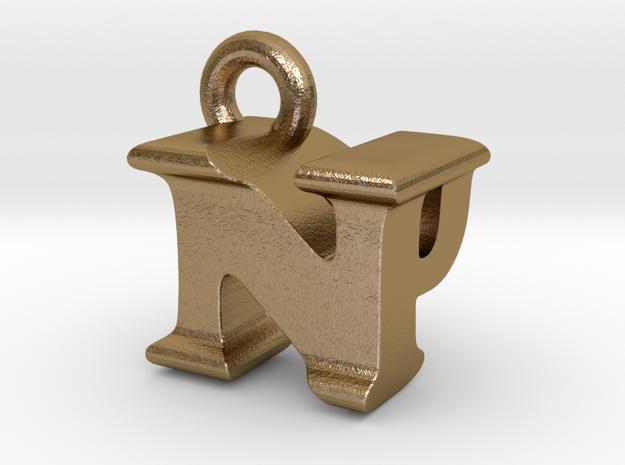 3D Monogram Pendant - NPF1 in Polished Gold Steel