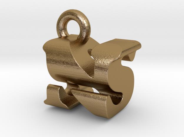 3D Monogram Pendant - NSF1 in Polished Gold Steel