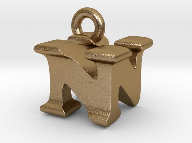 3D Monogram Pendant - NNF1 in Polished Gold Steel