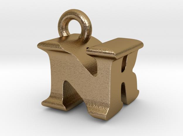 3D Monogram Pendant - NRF1 in Polished Gold Steel
