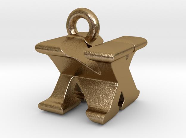 3D Monogram Pendant - NXF1 in Polished Gold Steel