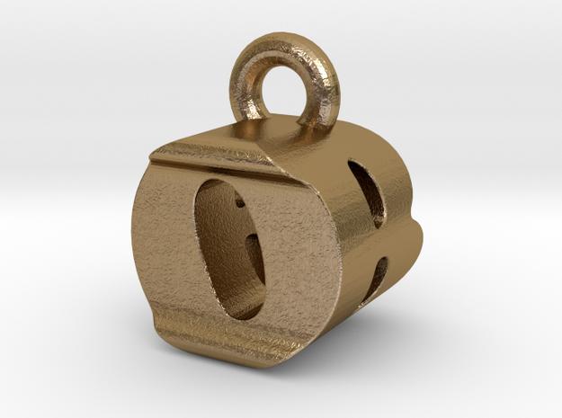 3D Monogram Pendant - OBF1 in Polished Gold Steel